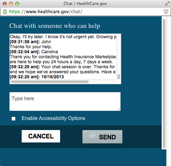 HealthCare.gov chat window