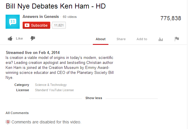 Nye Debates Ken Ham YouTube Description