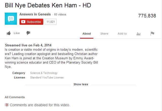 Nye Debates Ken Ham YouTube Description