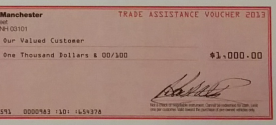 Suzuki of Manchester Flyer March 2014 - Trade Assistance Voucher 2013
