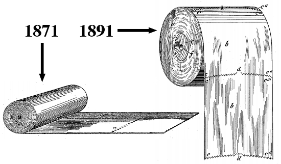 Shockingly, no one is using Wheeler's patent from two decades earlier as proof that toilet paper belongs on the ground.