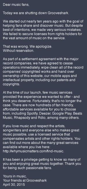 Grooveshark apology