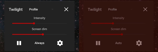 Twilight app settings screenshot